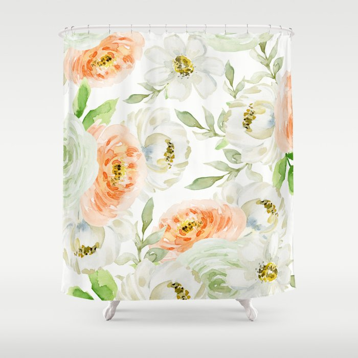 Big Peach And White Flowers Shower Curtain