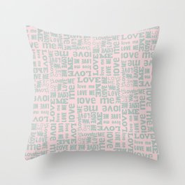 Valentine Love Me Typography Pattern - Mix & Match with Simplicty of life Throw Pillow