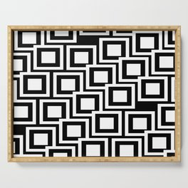 Black and White Squares Pattern 02 Serving Tray