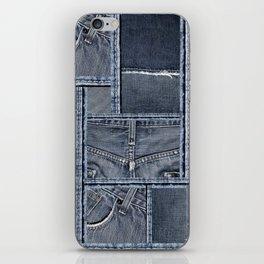 Blue Jeans Denim Patchwork Pattern iPhone Skin