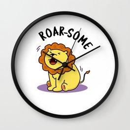 Roarsome Cute Lion Pun Wall Clock