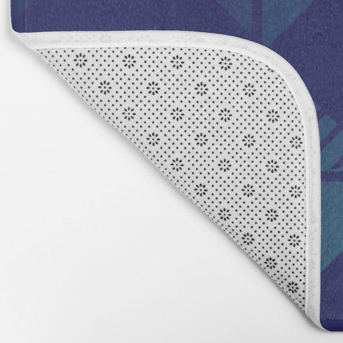 Blue,Diamond Shapes,Square Bath Mat