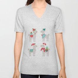 Christmas llamas Unisex V-Neck