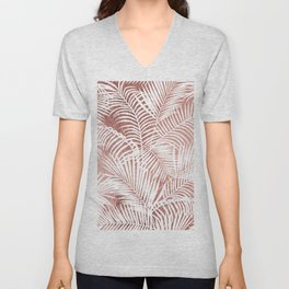 Modern elegant white faux rose gold palm tree Unisex V-Neck
