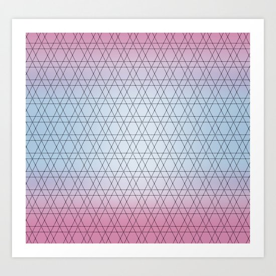 Blue Diamonds and Pink Shades Art Print
