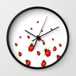 ABSTRACT RED LADY BUGS CRAWLING ON WHITE COLOR Wall Clock