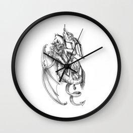 St George Slaying Dragon Tattoo Wall Clock