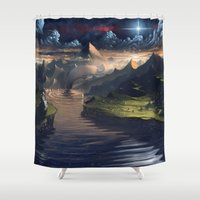 platypus Shower Curtains featuring Under the Miky Way by Roberto Nieto