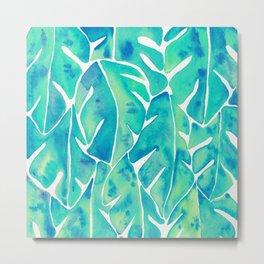 Split Leaf Philodendron – Turquoise Metal Print