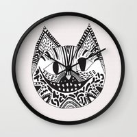 cheshire cat Wall Clocks featuring  CHESHIRE CAT by Vasare Nar