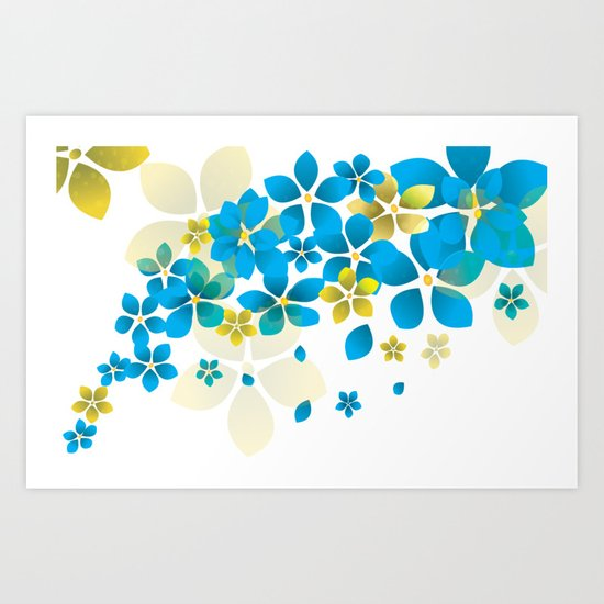 Blue and yellow flowers Art Print