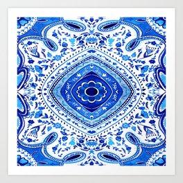 Indigo Mandala Tapestry Pattern 2 Art Print