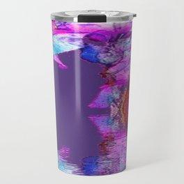 PURPLE-WHITE IRIS & MOON WATER GARDEN  REFLECTION Travel Mug