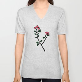 Berry loving deers on a green background Unisex V-Neck