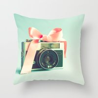 forever young Throw Pillows featuring Forever young  by Caroline Mint