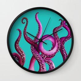 Teal and Pink Kraken Wall Clock