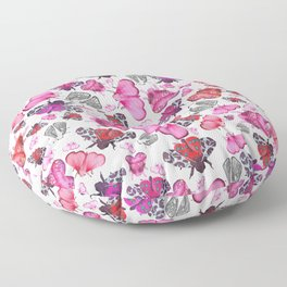 Pink Love of Moths and Butterflies Floor Pillow