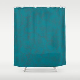 Modern Botanicals in a Minimalistic Design on Turquoise Shower Curtain