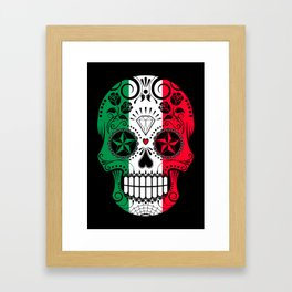 Sugar Skull with Roses and Flag of Italy Framed Art Print