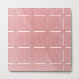 Block Print Simple Squares in Coral Metal Print