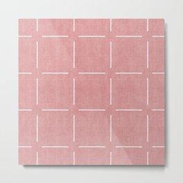 Block Print Simple Squares in Coral Metal Print
