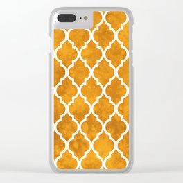 Classic Quatrefoil Lattice Pattern 903 Yellow Clear iPhone Case