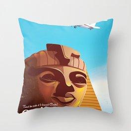 Cairo flight vintage travel poster Throw Pillow