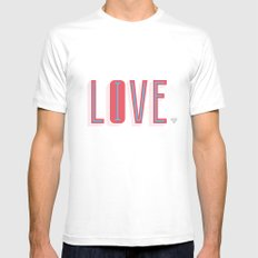 Live & Love White SMALL Mens Fitted Tee
