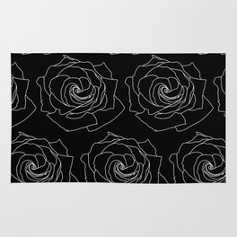 Black with White Rose Pattern Thin Lines Rug