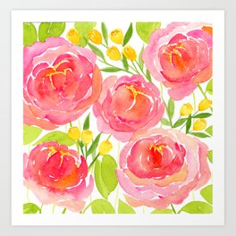 Pink Peonies - Watercolor Floral Print Art Print