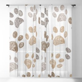 Brown colored paw print background Sheer Curtain