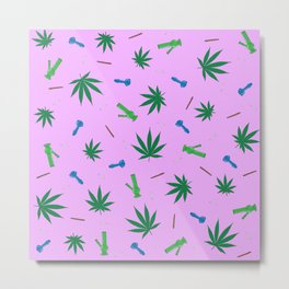 Weed Leaf, Bongs, Pipes, Joint, Blunts Pattern Metal Print