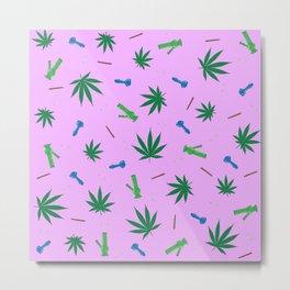 Weed Leaf, Bongs, Pipes, Joint, Blunts Pattern Metal Print