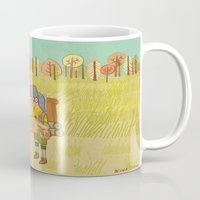 moonrise kingdom Mugs featuring 'Moonrise Kingdom' by Nicola Colton illustration