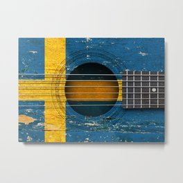 Old Vintage Acoustic Guitar with Swedish Flag Metal Print