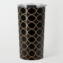 Elegant black faux gold glitter chic quatrefoil vector illustration Travel Mug