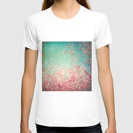 Blue Autumn, Pink leafs on blue, turquoise, green, aqua sky T-shirt