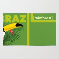 brazil Area & Throw Rugs featuring Brazil [rainforest] by Caetanorama Art Studio