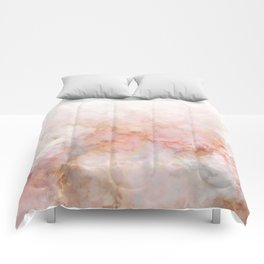 Beautiful Pink and Gold Ombre marble under snow Comforters