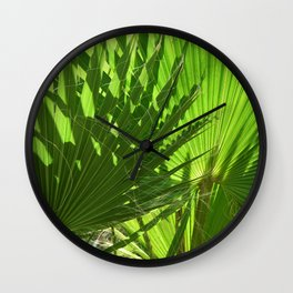 Shades of Palm Leaves Wall Clock