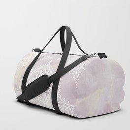 MANDALA ON PINK MARBLE Duffle Bag