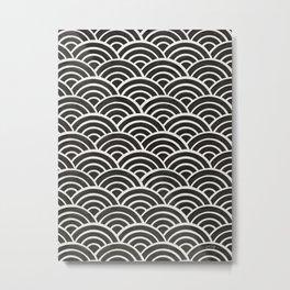 Japanese Seigaiha Wave – Black & White Palette Metal Print