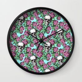 Skulls & Roses Pattern on Blue Wall Clock