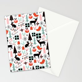 Christmas ornaments minimal holly reindeer candy cane christmas tree pattern print Stationery Cards