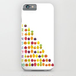 numbers for preschool kindergarten kids kawaii fruit from one to ten iPhone Case