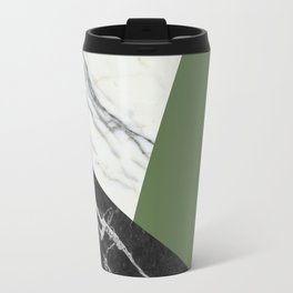Black and white marble with pantone kale Travel Mug