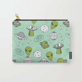 Alien outer space cute aliens french fries rad sodas pattern print mint Carry-All Pouch