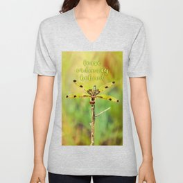 Dragonfly ~ Quote Leave Ordinary Behind ~ Ginkelmier Inspired Unisex V-Neck