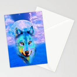 Wolf Moon and the Deep Blue Sea Stationery Cards