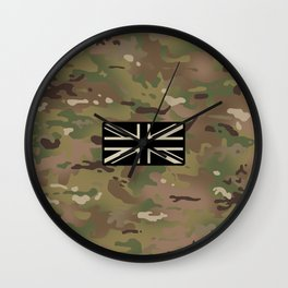 British Flag: Woodland Camouflage Wall Clock